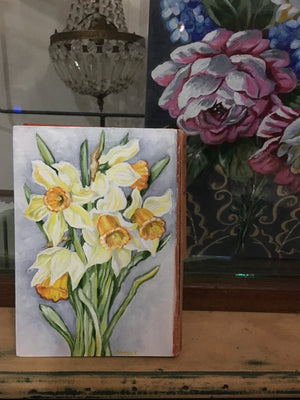 Commission - Daffodils and the Orange Book - Oil Book Painting