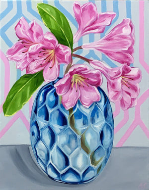 Pink Rhododendron and the Geo Vase