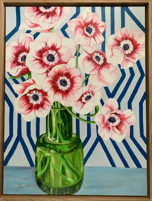 Pink Anemones and the Green Vase - ROSE ST TRADING CO $1200 AUD
