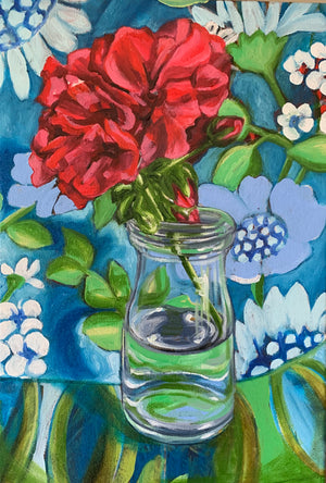 Red Geranium and the Atomic Blue - ART TO ART GALLERY $520 AUD