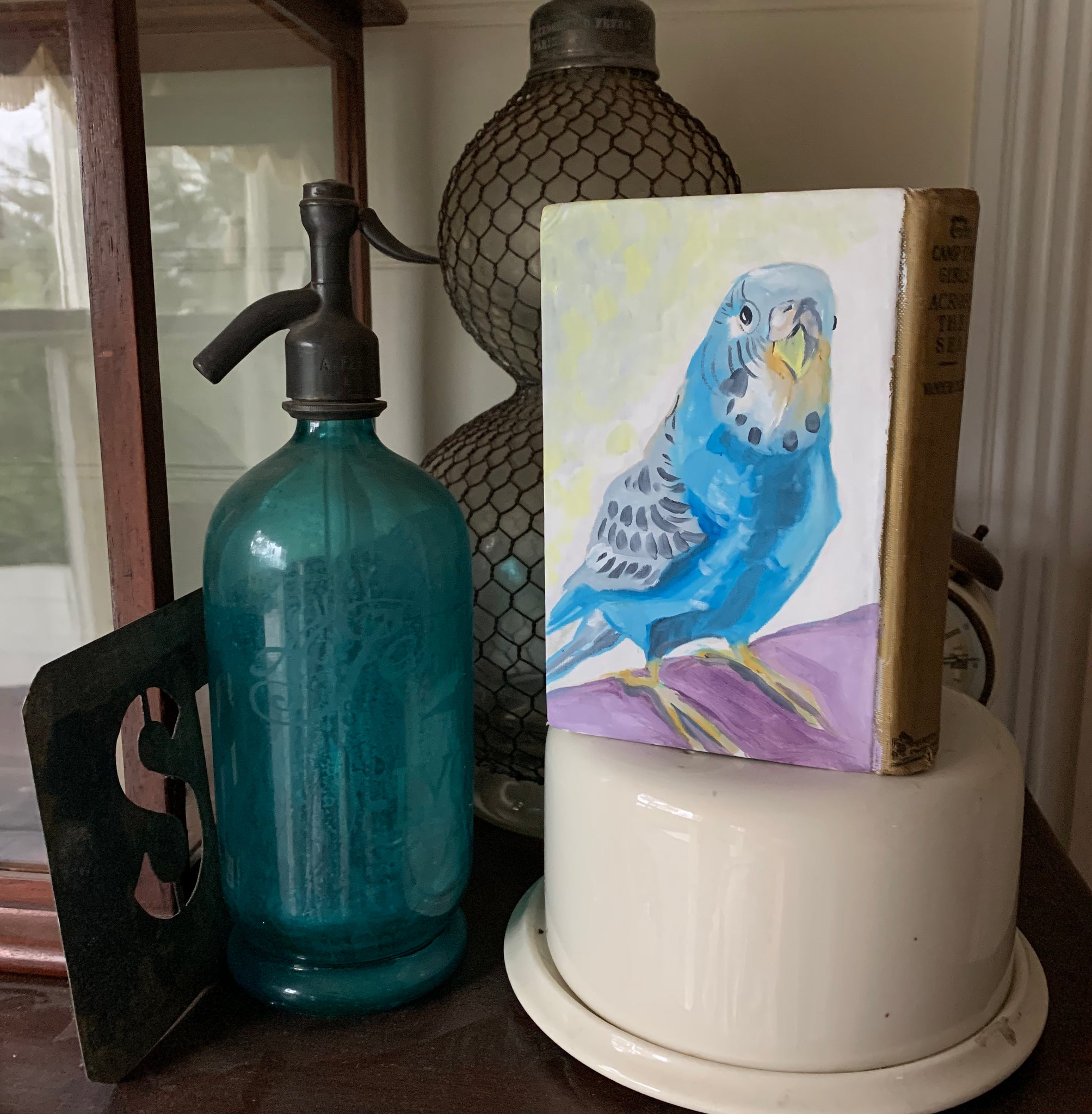 Bubbles the Budgie - Original Oil Book Painting