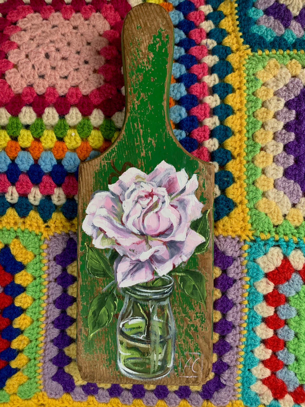 Pink Rose & Vintage Bottle  Paddle painting