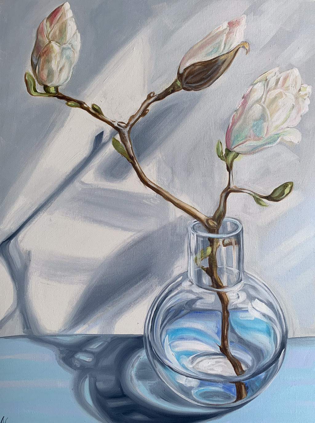 White Scented Magnolia and the Round Vase