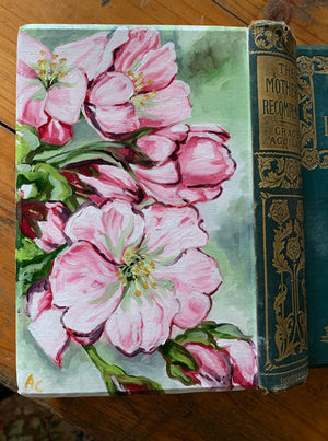 Mother and the Apple Blossom - Original Oil Book Painting