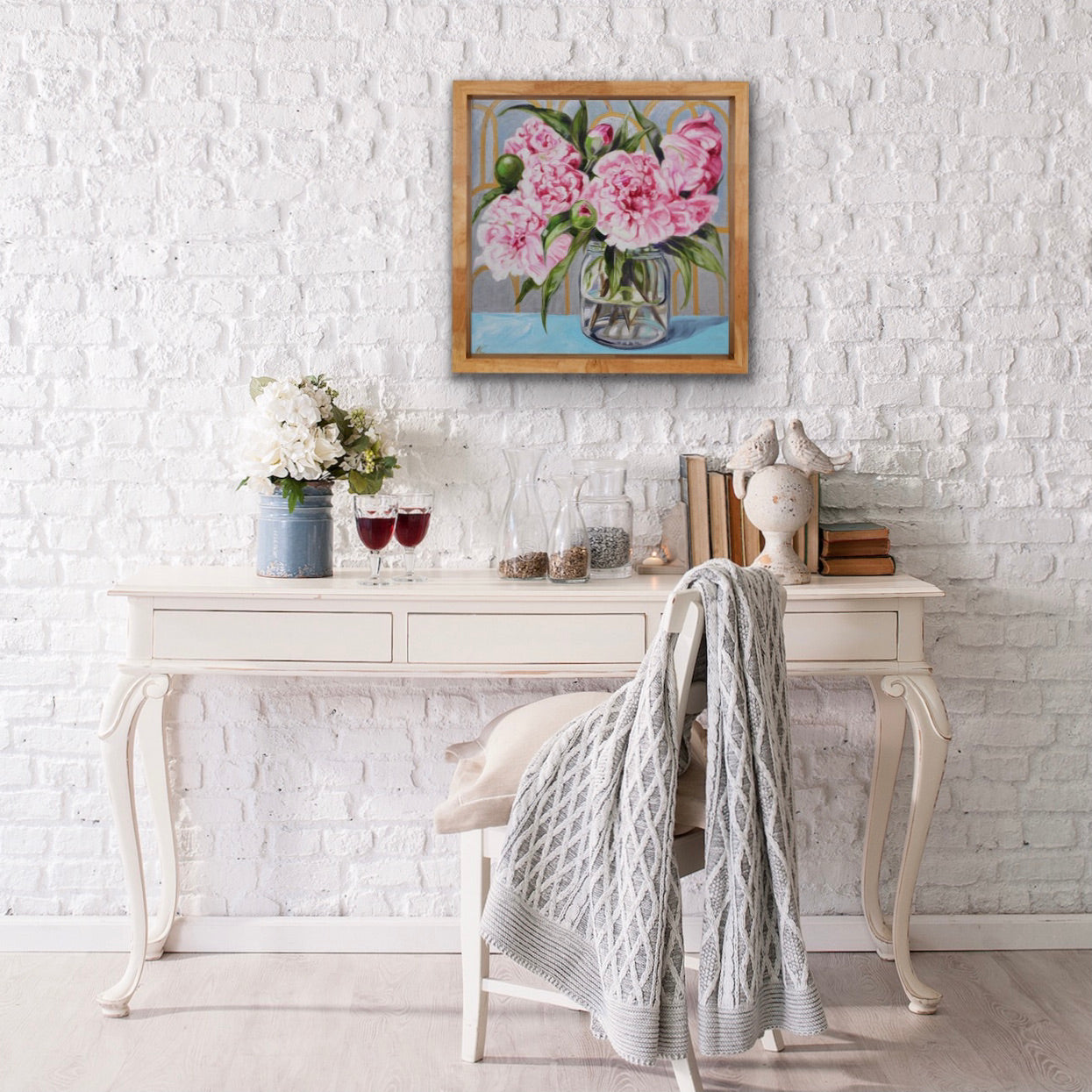 Pink Peonies and the Gold Wallpaper