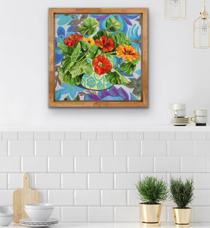 Nasturtiums and barkcloth Blue
