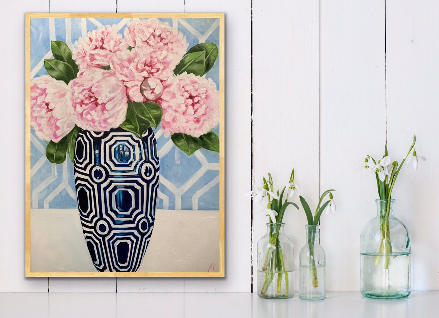Hamptons Peonies in Blue Geo Vase