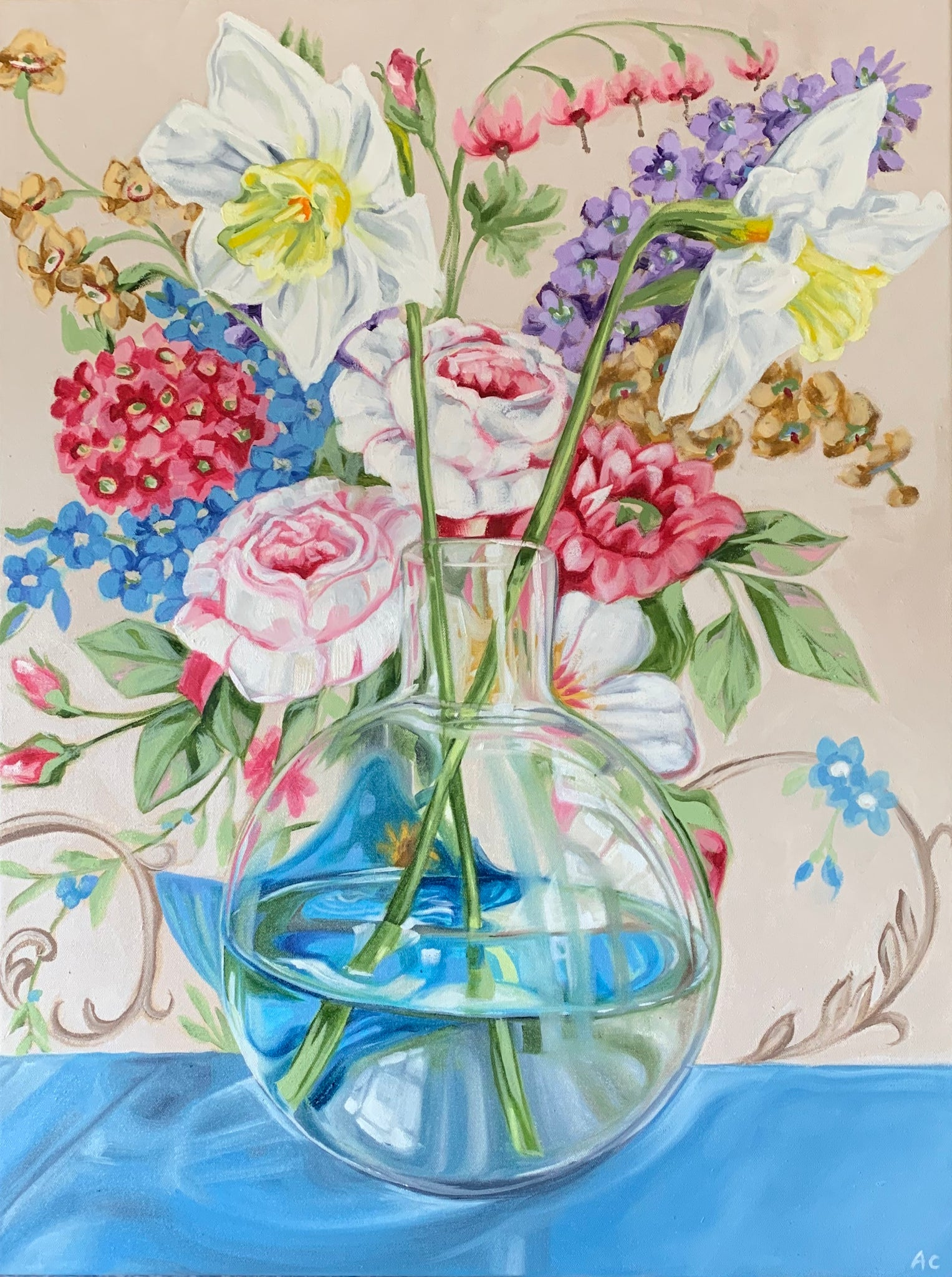 Sanderson Bouquet and the Round glass vase