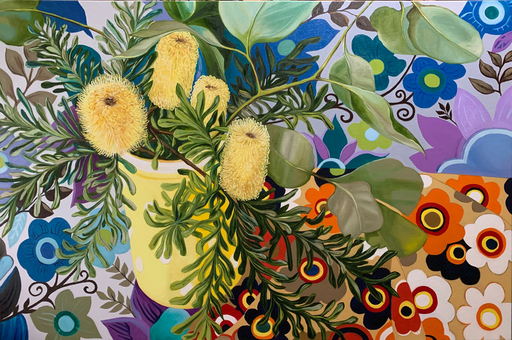Retro Banksias and the Yellow polka dots