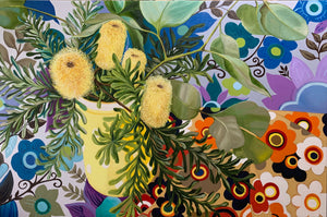 Retro Banksias and the Yellow polka dots - FELIZ HOME $3000 AUD