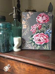 Vintage Floral Fabric & Lino Series #1 - Original Painting on Canvas