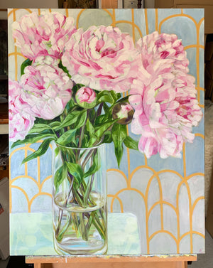 Pink Peonies in Silver and Gold