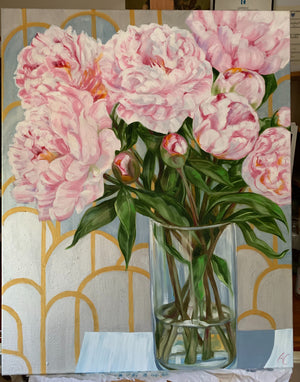 Blousy Peonies and the Silver Geo