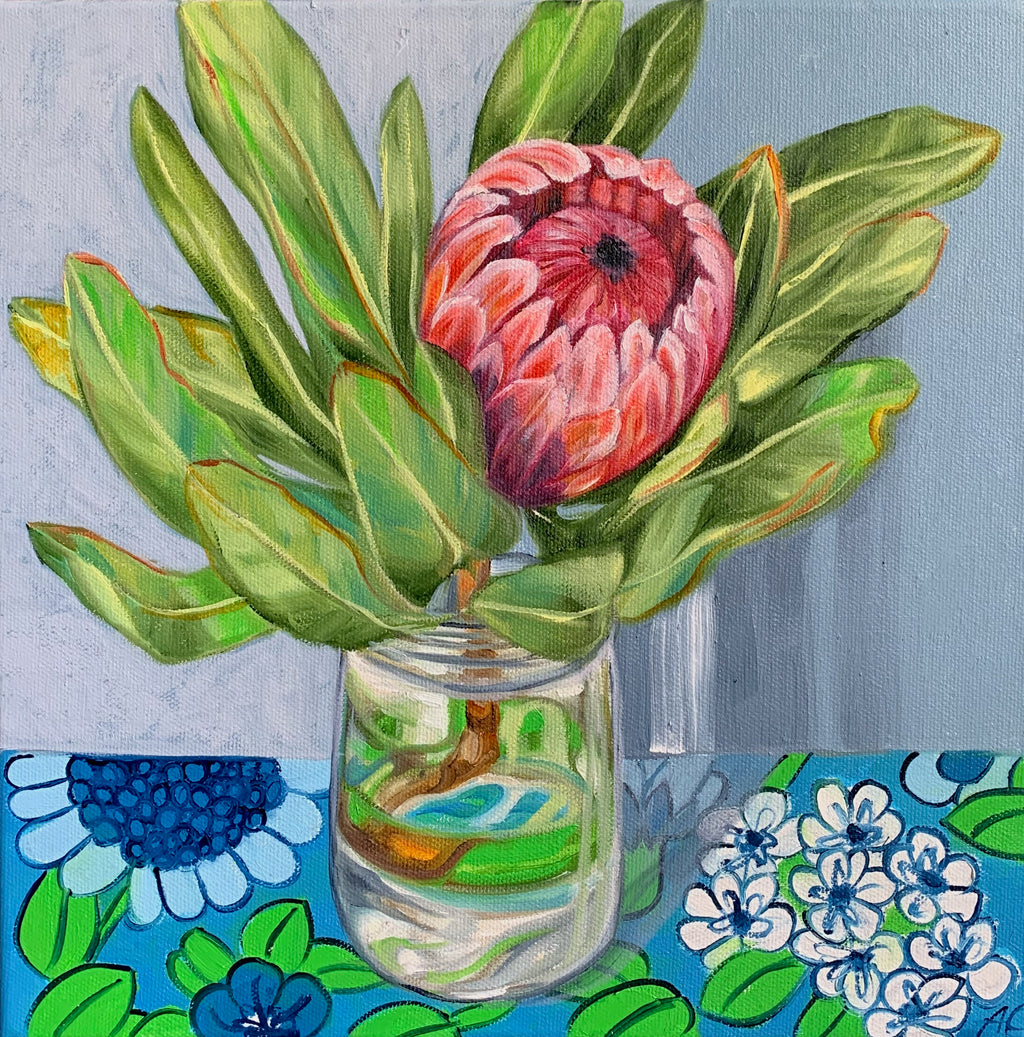 Pink Protea and Barkcloth Blue