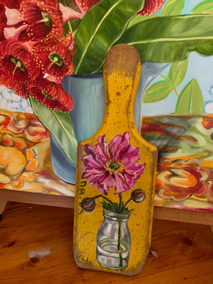Windflower Dark Pink Paddle painting