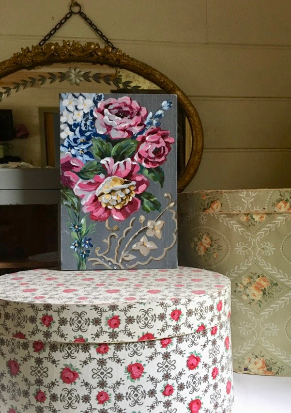 Vintage Floral Fabric & Lino Series #2 - Original Painting on Canvas