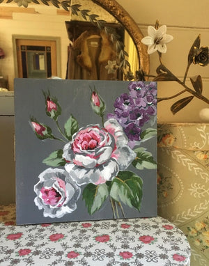 Vintage SANDERSON Roses #1 - Original Painting on Canvas