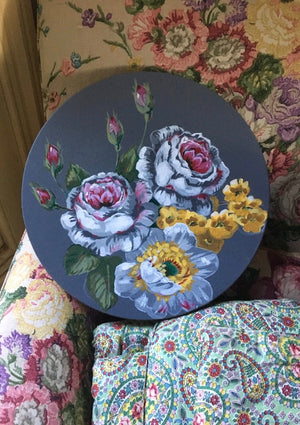 Vintage SANDERSON Roses #2 Round - Original Painting on Canvas