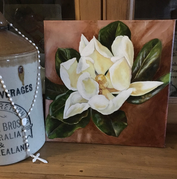 """White Magnolia"" Original Oil Painting"