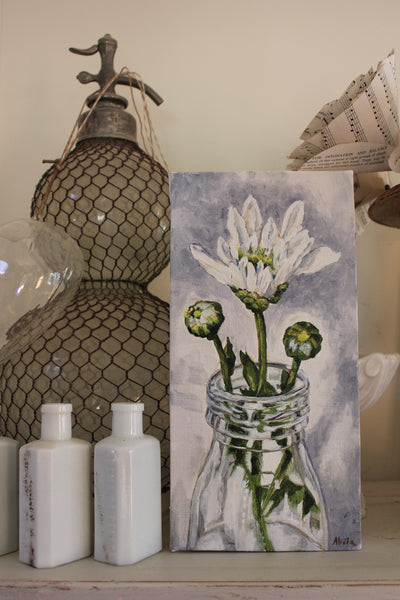 Original Oil Painting on Canvas - Vintage White floral in Milk Bottle