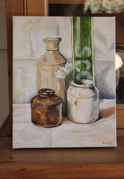 """French Provincial White Flower"" Original oil Painting"