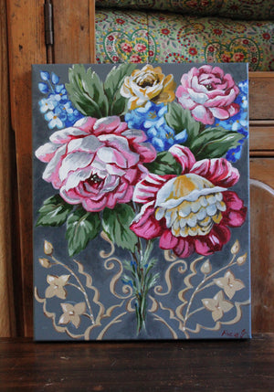 Antique Roses & Florals Original Oil Painting on Canvas
