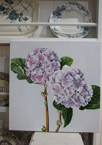 Lilac and Pink Hydrangeas - Original Oil Painting by Alicia Cornwell