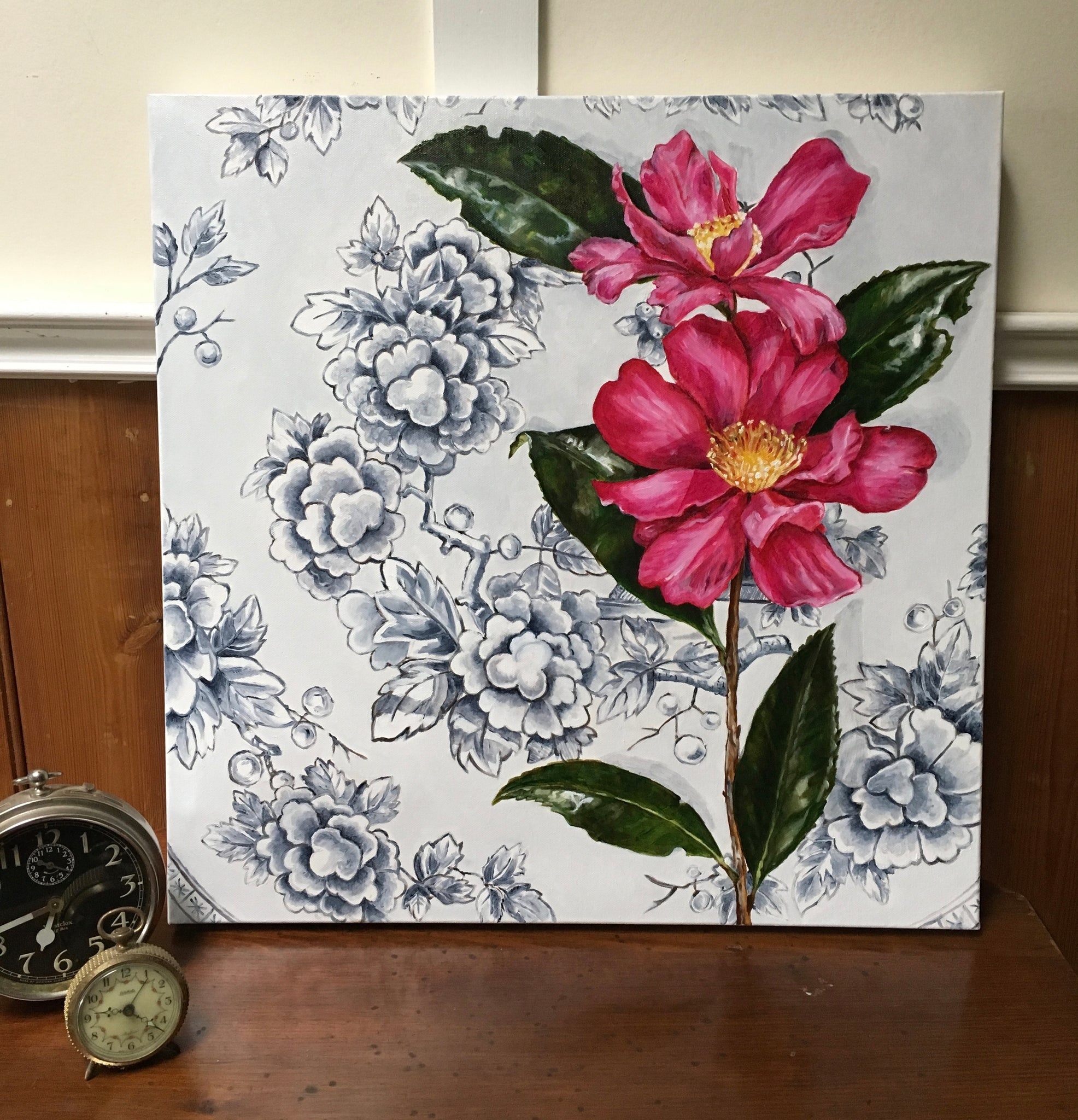 """Tunstall Camellias"" - Original Oil Painting 22"" by 22"""