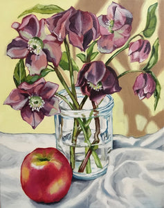 Hellebores (Winter Rose) & Fowlers original oil painting