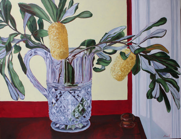 St Kilda Banksias in Crystal - Original Oil Painting on Canvas