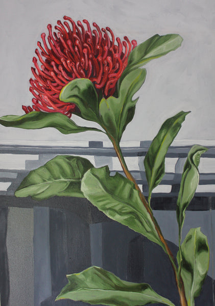 Waratah & Ball Jar - Original oil painting