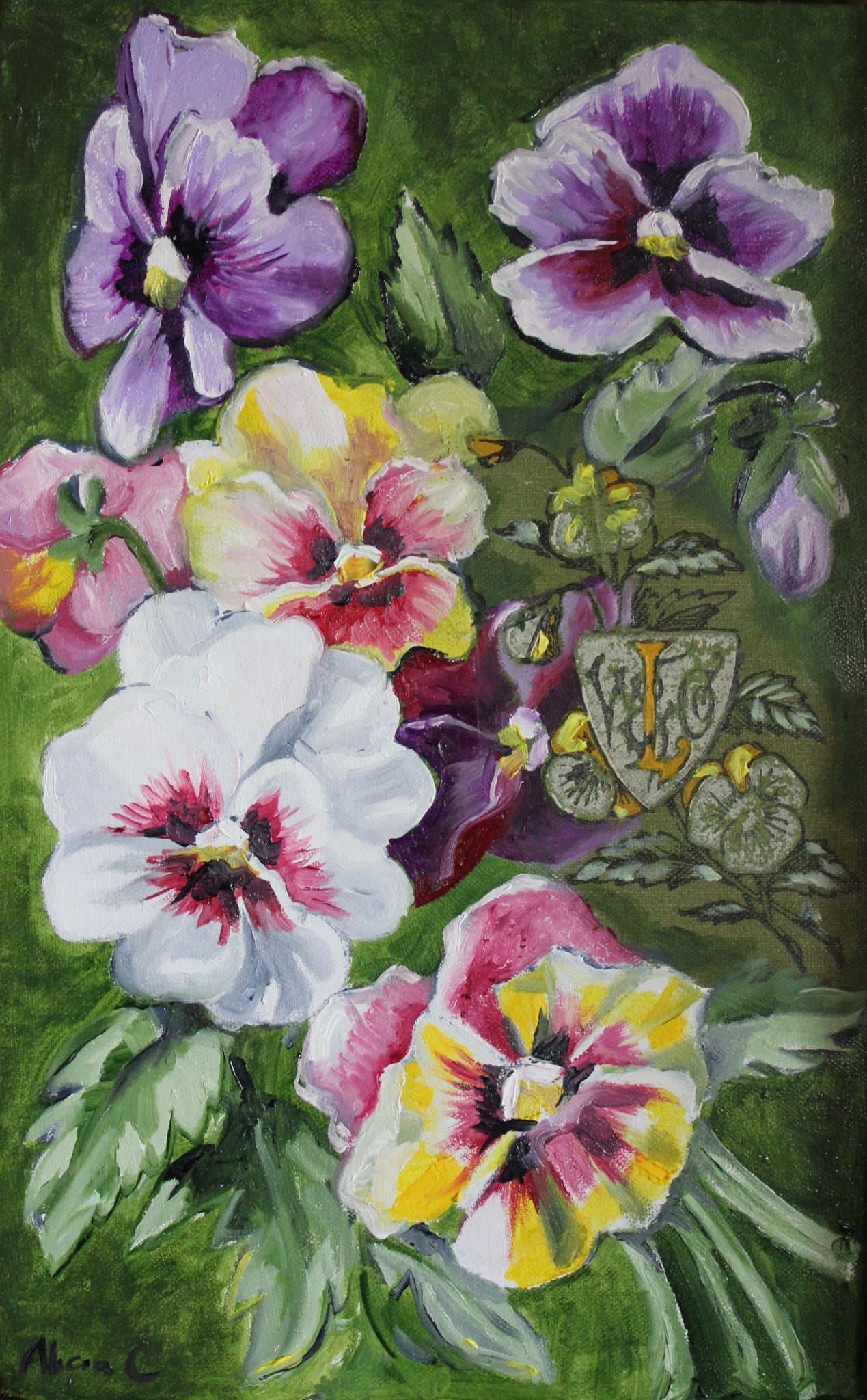 Queechy and the Pansy Series - Original oil book Painting