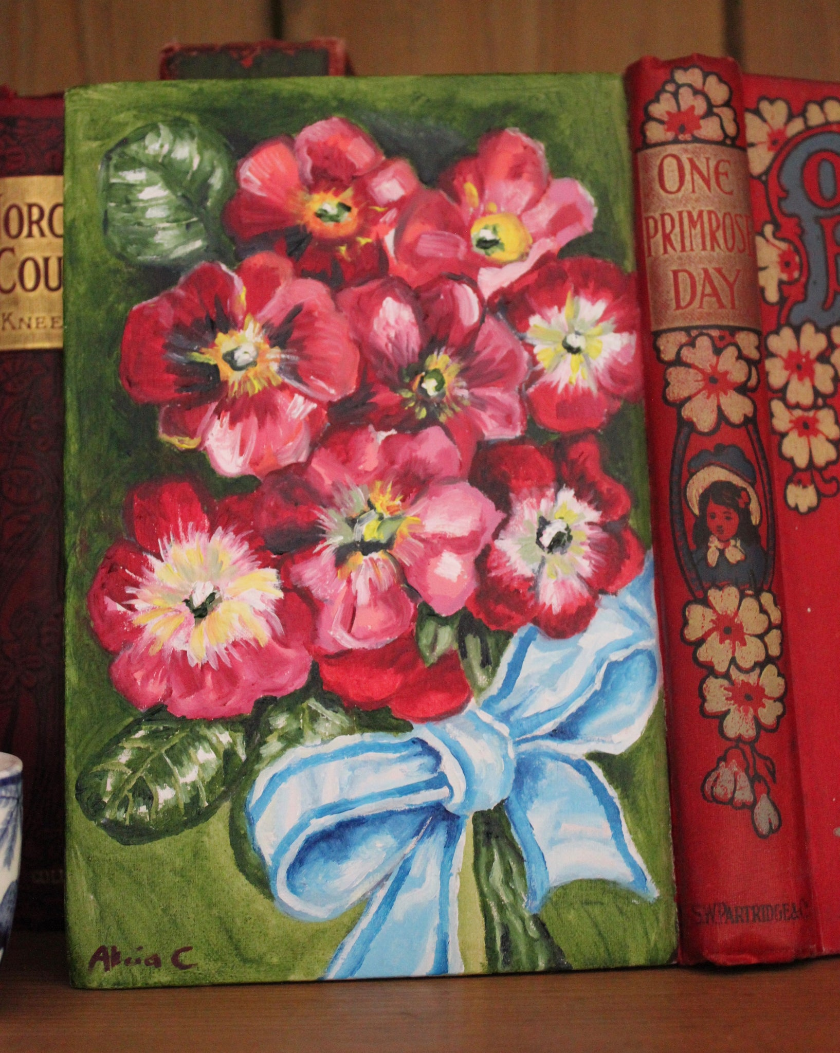 One Primrose Day and the Blue Ribbon - Original Oil Painting Book