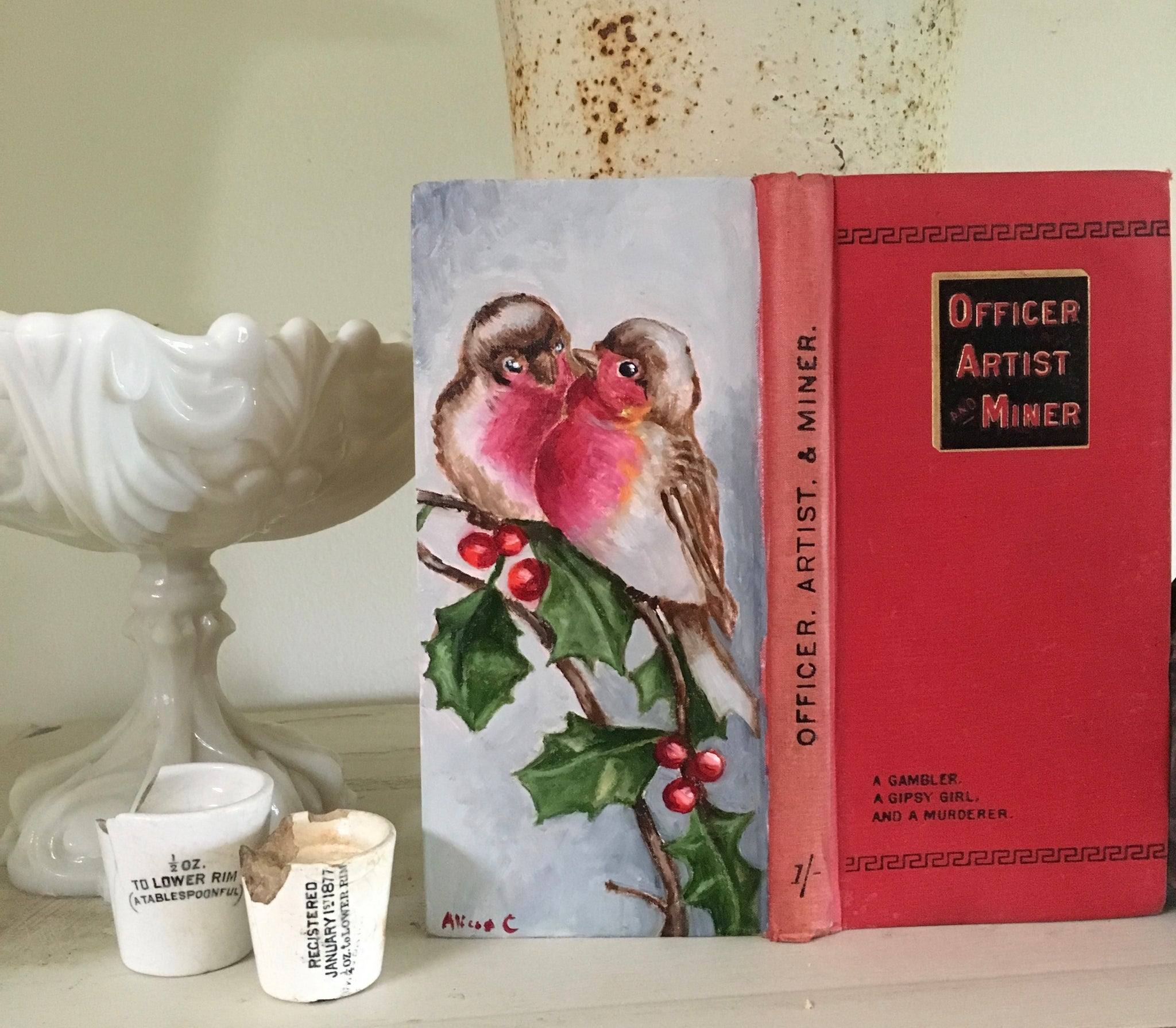 Birds with Holly & the Artist - Original Oil Book Painting