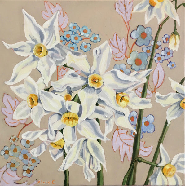 Spring Jonquils on Vintage Original Oil Painting