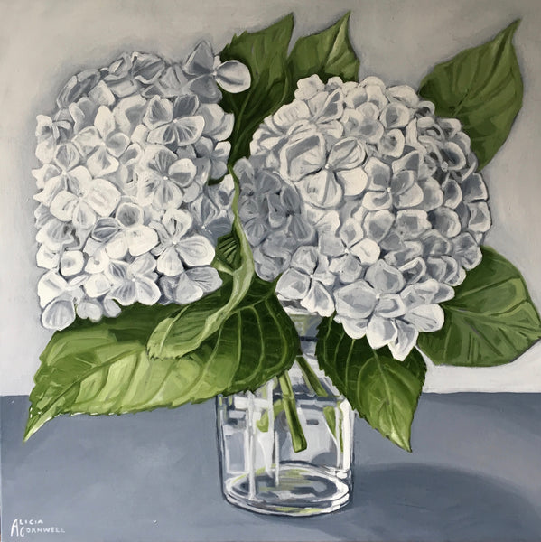 White Hydrangea in Glass