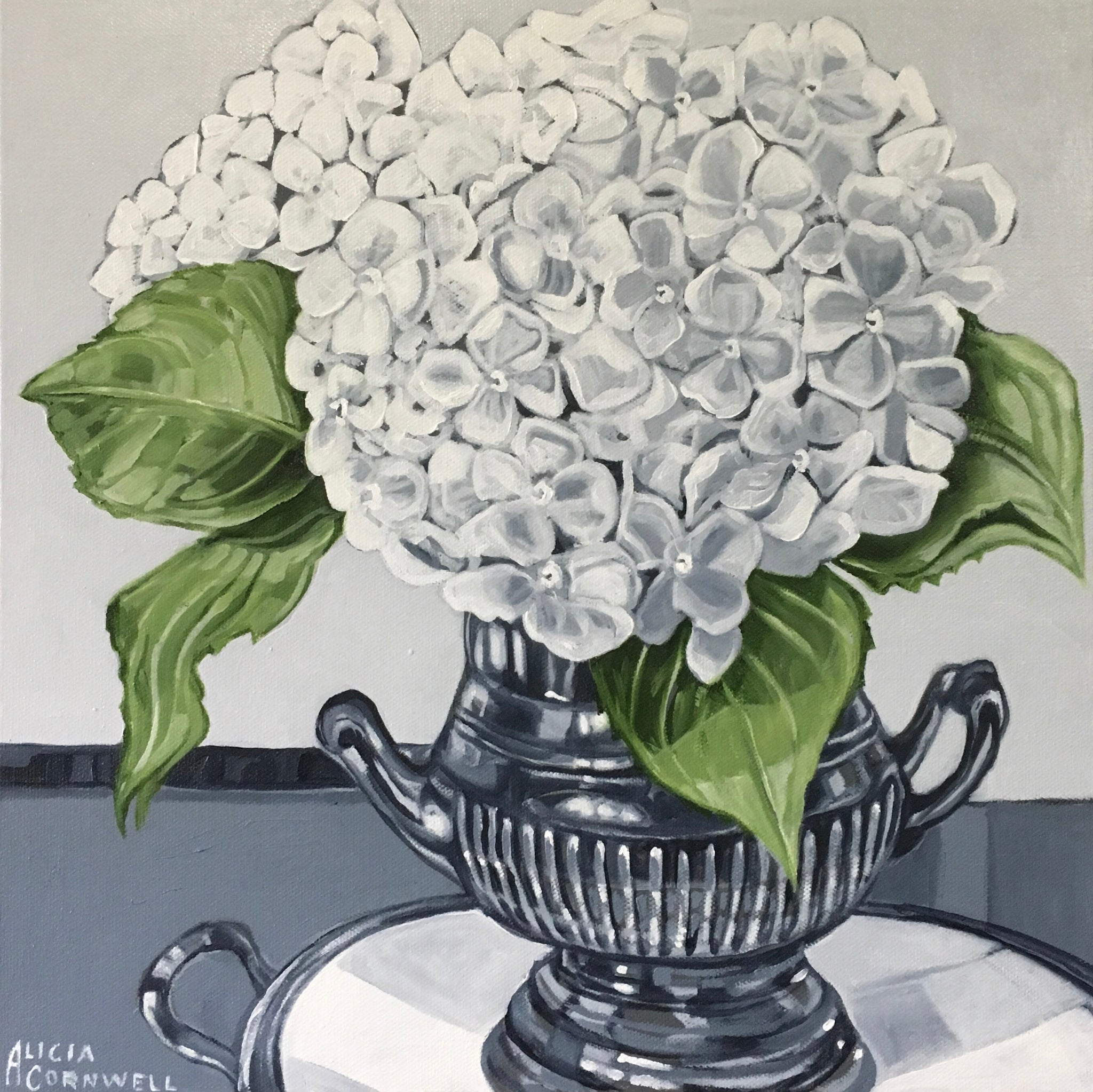 White Hydrangeas in Tarnished Silver