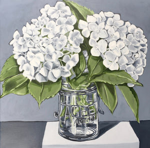 White Hydrangeas in Agee Jar