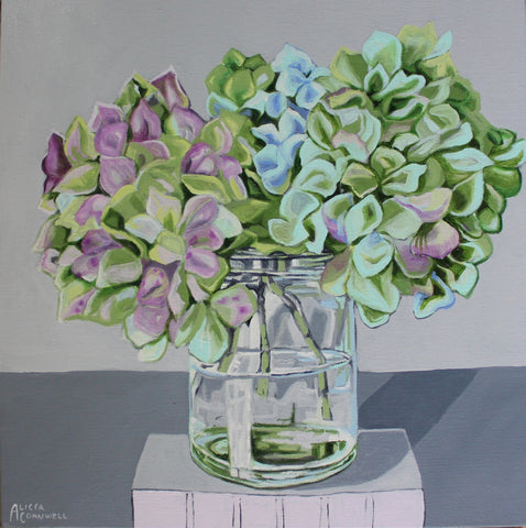 Autumn Hydrangeas in Vintage Jar