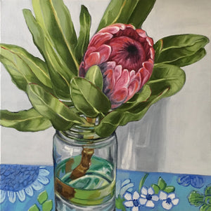 Protea on Blue Barkcloth
