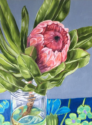 Protea Study in Blue