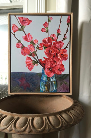 Japanese Japonica (Quince) in Vase FRAMED