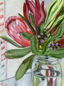 Study with Protea bunch & Vintage Jar