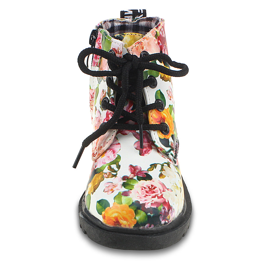 Child Girls Embroidery Kid Martin Ankle Boots Zipper Miltary Shoes Size US 9-4