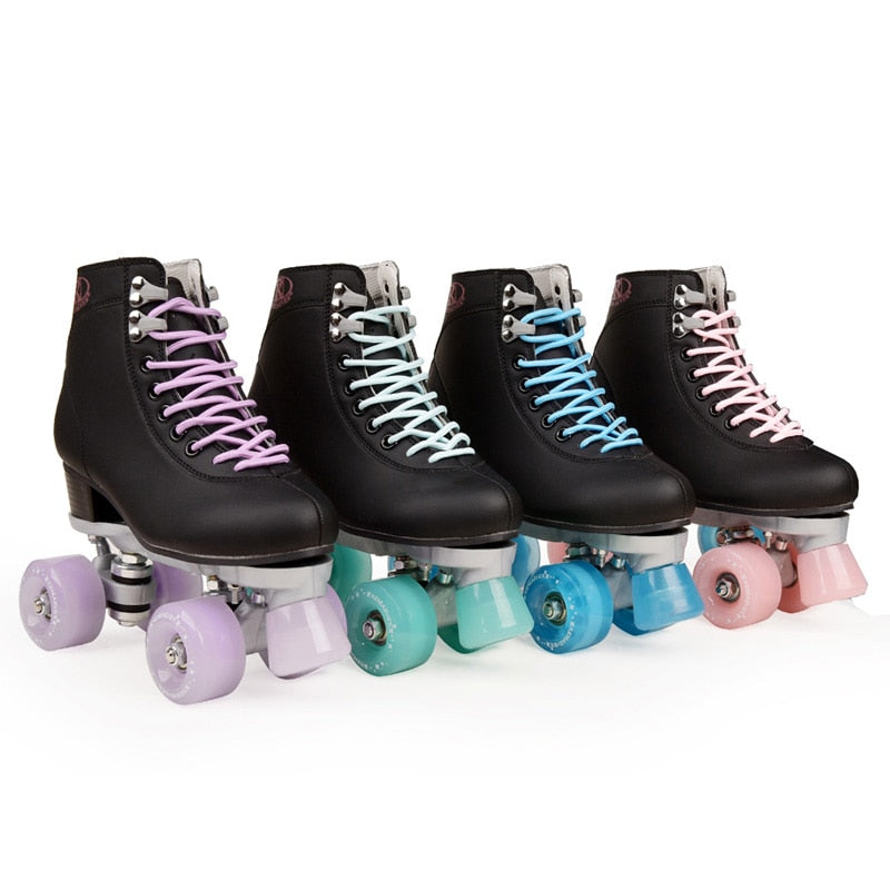 xingchen Artificial Leather Skates Double-line Skates Ladies Adult Two-line Skates with White Pu 4 Wheels