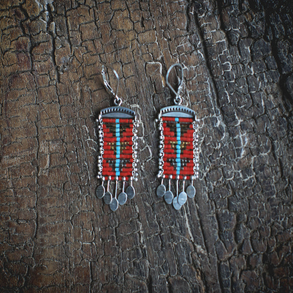 Sacred Peak Blue Line Earrings in Red