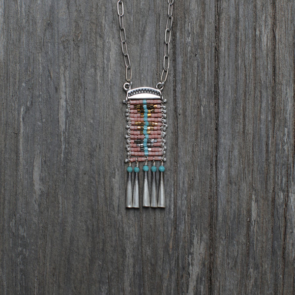 Pink Sacred Peak Necklace with Turquoise