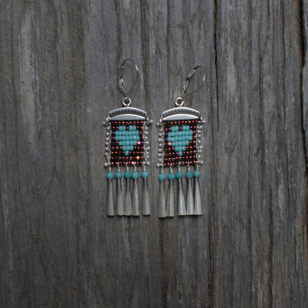 Little Heart Earrings with Turquoise