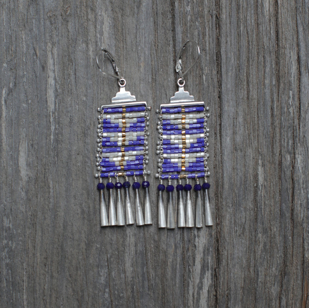 Sacred Canyon Gold Line Earrings in Blue with Lapis