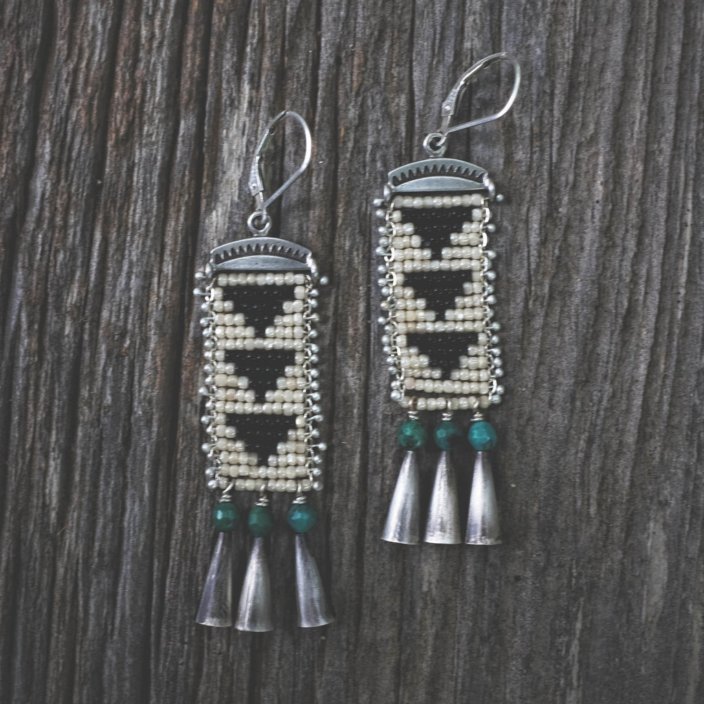 Bandelier Earrings with Turquoise and Cascabels
